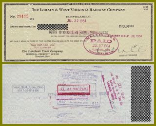 Lorain & West Virginia Railway Company - 1954 Employee Paycheck - Item photo