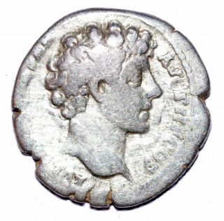 Authentic Marcus Aurelius - Roman,  Ar Silver Denarius - Rv.  Cult Instruments - A477 photo