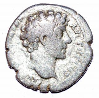 Authentic Marcus Aurelius - Roman,  Ar Silver Denarius - Rv.  Cult Instruments - A477 photo