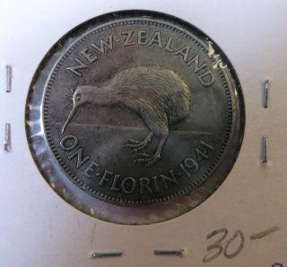 1941 Zealand 1 - Florin Silver photo