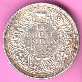 British India - 1939 - 1/4 Rupee - King George Vi - Rarest Silver Coin - 28 photo