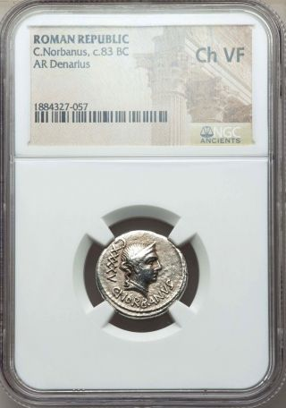C.  Norbanus Ca 83 Bc Ar Denarius Rome Ngc Choice Vf photo