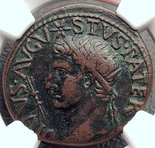 Deified Augustus W Caesar ' S Comet 15ad Ancient Roman Coin By Tiberius Ngc I61978 photo