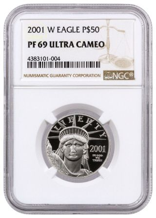 2001 - W $50 1/2 Oz Proof Platinum Eagle Ngc Pf69 Uc Sku17065 photo
