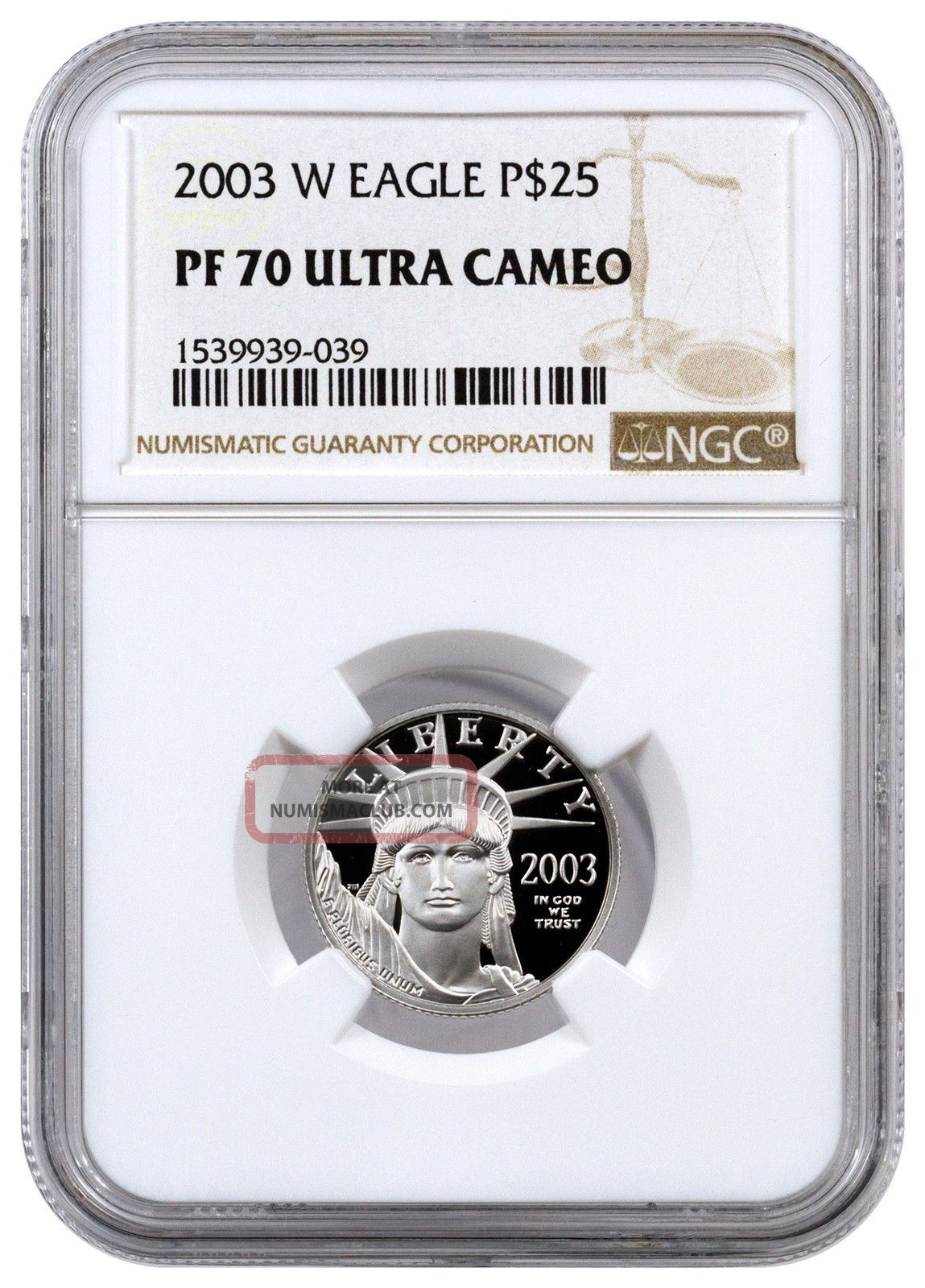 2003 - W $25 1/4 Oz Proof American Platinum Eagle Ngc Pf70 Uc Sku16444 Platinum photo
