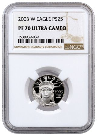 2003 - W $25 1/4 Oz Proof American Platinum Eagle Ngc Pf70 Uc Sku16444 photo