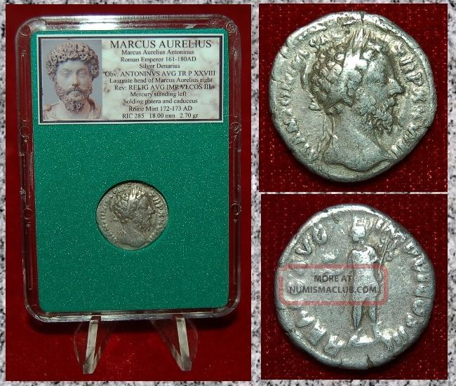 Roman Empire Coin Marcus Aurelius Mercury On Reverse Silver Denarius Coins: Ancient photo