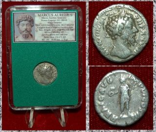 Roman Empire Coin Marcus Aurelius Mercury On Reverse Silver Denarius photo