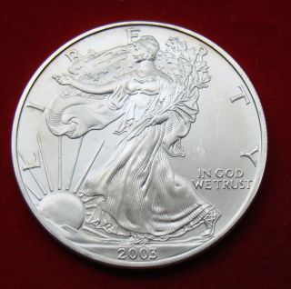 2003 Silver Dollar Coin 1 Troy Oz American Eagle Walking Liberty.  999 Fine photo