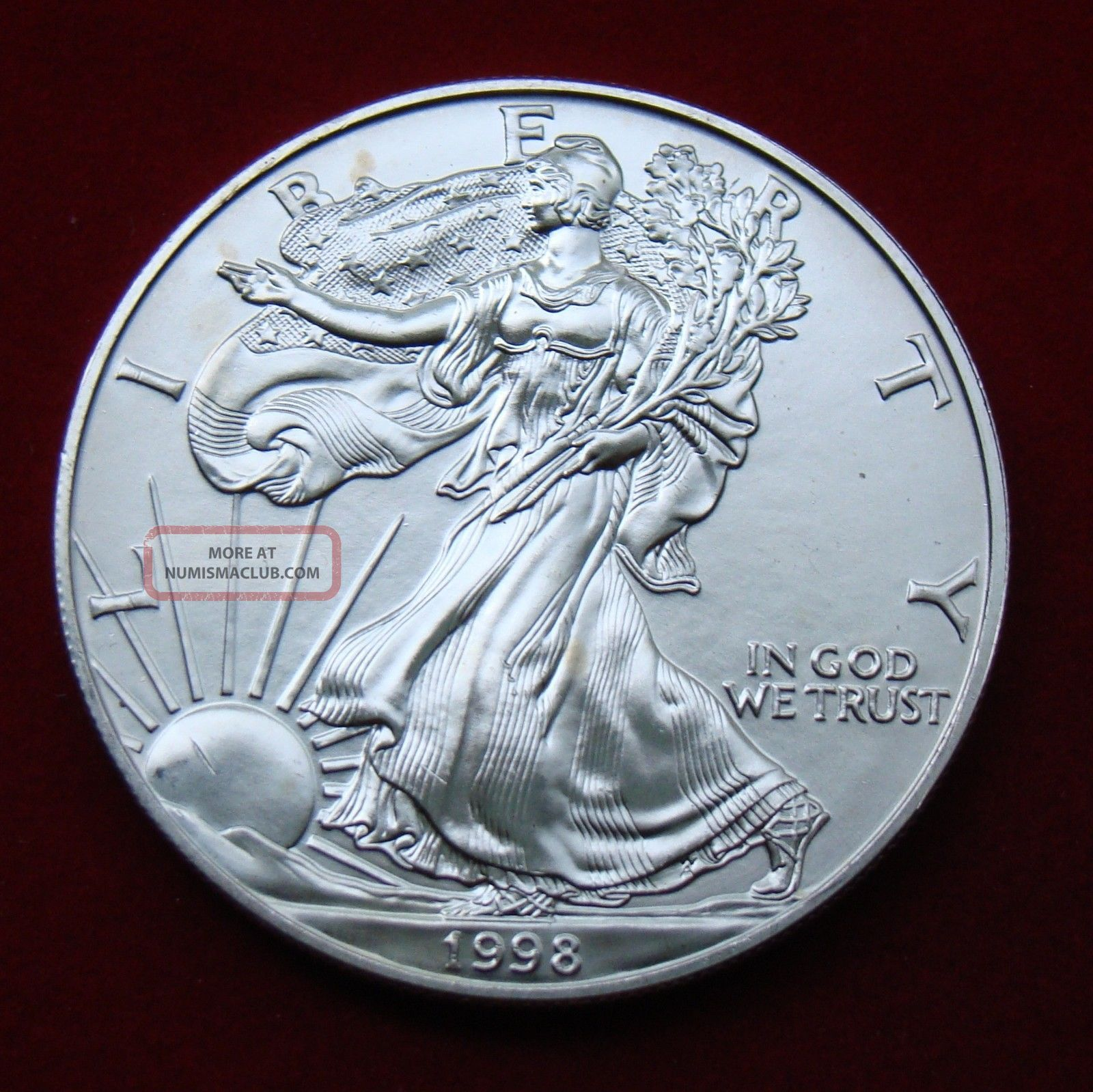 1998 Silver Dollar Coin 1 Troy Oz American Eagle Walking