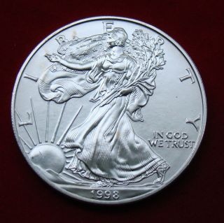 1998 Silver Dollar Coin 1 Troy Oz American Eagle Walking Liberty.  999 Fine photo