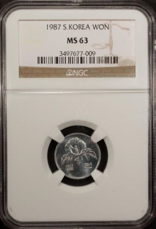 South Korea Won 1987 Ngc Ms 63 Unc photo