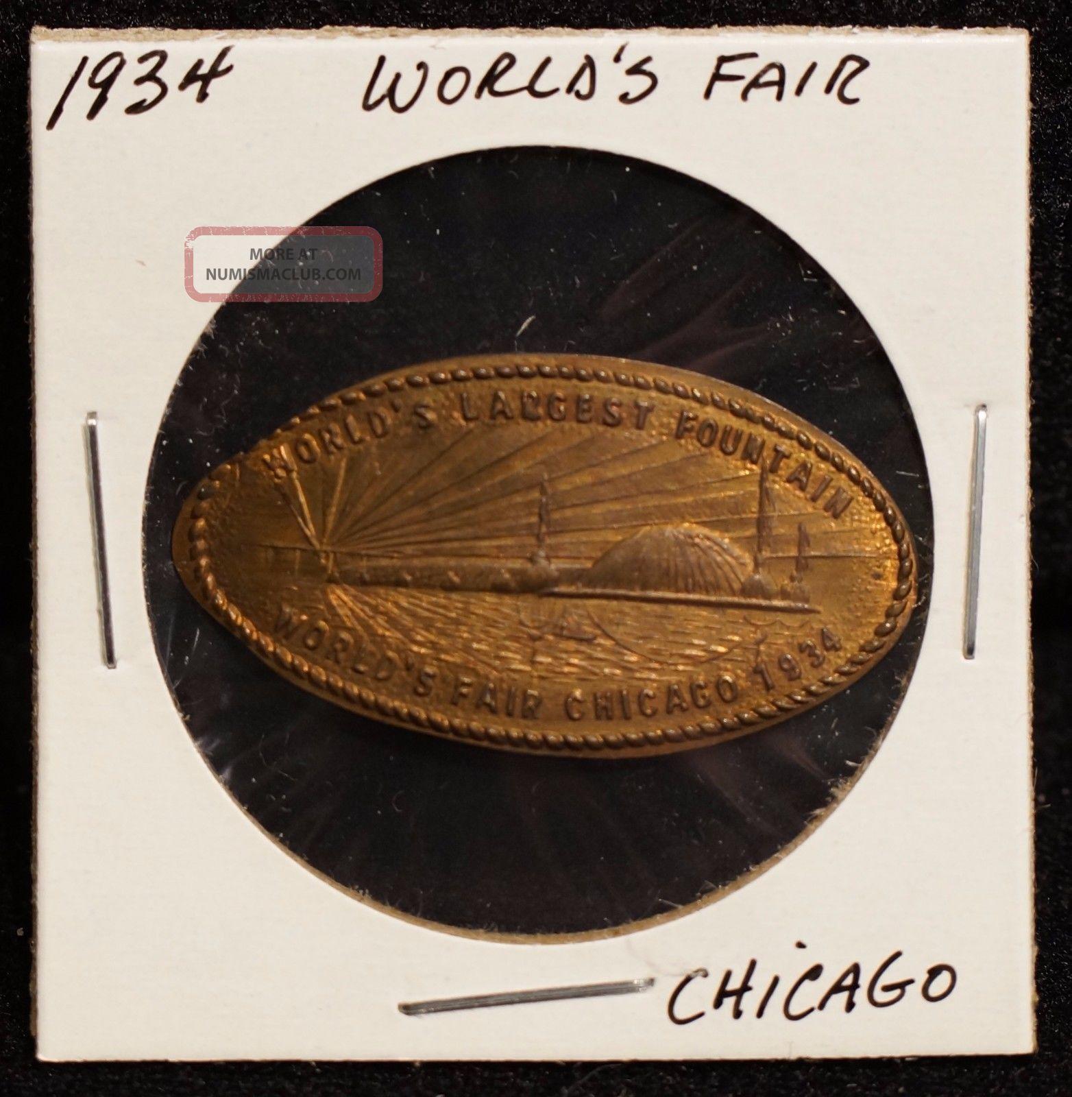 1934 World ' S Fair Chicago 1919 Lincoln Wheat Penny Elongated Souvenir Coin Exonumia photo