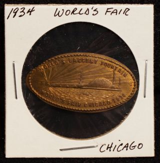 1934 World ' S Fair Chicago 1919 Lincoln Wheat Penny Elongated Souvenir Coin photo