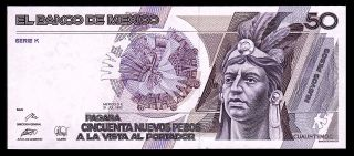 Banco De Mexico 50 Nuevos Pesos 31 - Jul - 1992 Series K,  P - 97.  Unc.  V3071026 photo