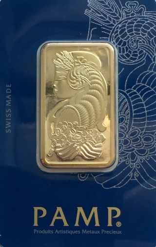 1 Oz Gold Bar Pamp Suisse 999.  9 In Assay Veriscan Hallographic Package photo