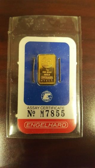 1 Gram Vintage Gold Englehard Bar In Assay photo