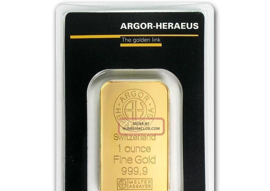 1 Oz Argor - Heraeus Gold Bar,  Switzerland Fine Gold 999.  9 Bars & Rounds photo