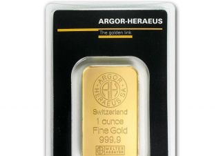 1 Oz Argor - Heraeus Gold Bar,  Switzerland Fine Gold 999.  9 photo