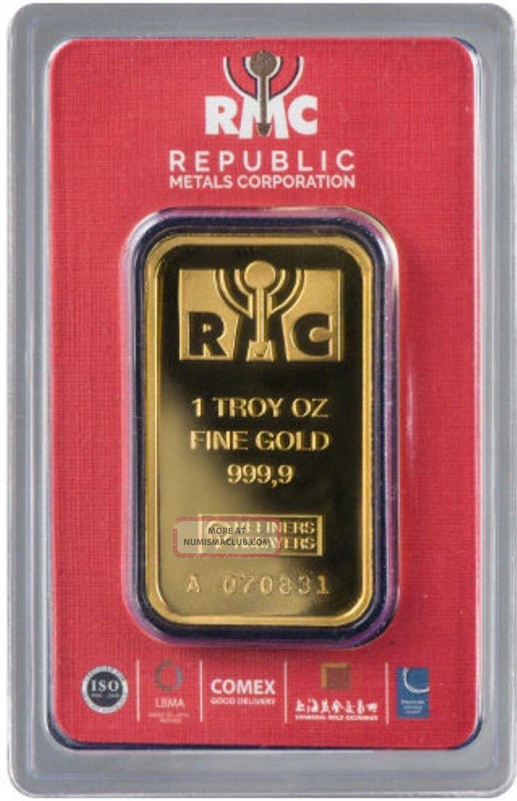 1 Oz.  Rmc Gold Bar - Republic Metals Corp - 999.  9 Fine In Assay Read Desc Gold photo
