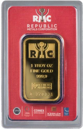 1 Oz.  Rmc Gold Bar - Republic Metals Corp - 999.  9 Fine In Assay Read Desc photo