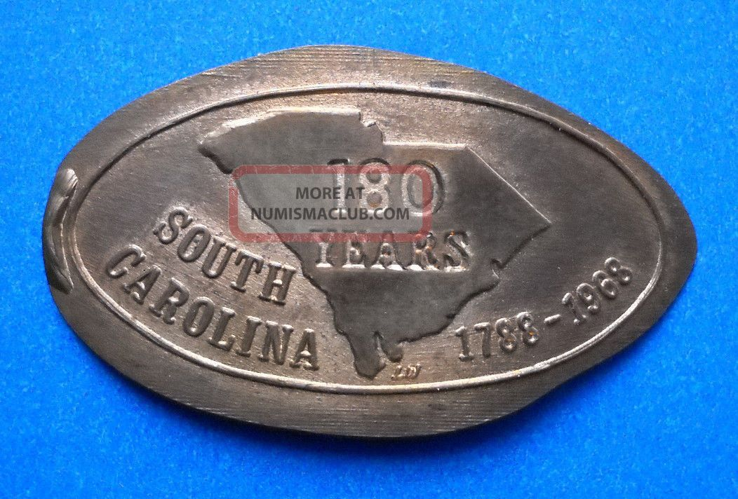 South Carolina Elongated Penny Sc Usa Cent 1788 1968 Souvenir Coin 180 Years Exonumia photo