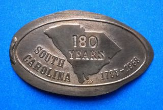 South Carolina Elongated Penny Sc Usa Cent 1788 1968 Souvenir Coin 180 Years photo