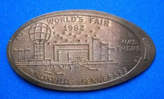 World ' S Fair Elongated Penny Knoxville Tennessee Usa Cent 1982 Souvenir Coin photo