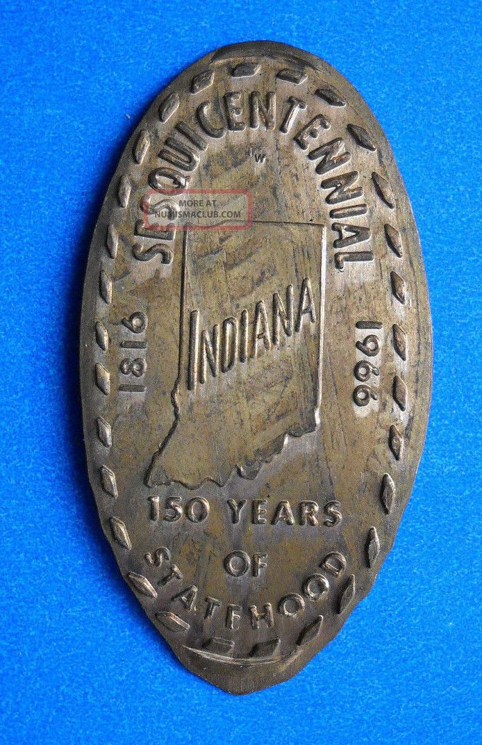 Indiana Elongated Penny In Usa Cent Hoosier State Souvenir Coin 1816 1966 Exonumia photo
