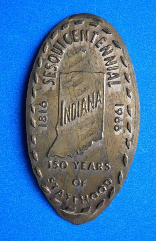 Indiana Elongated Penny In Usa Cent Hoosier State Souvenir Coin 1816 1966 photo