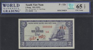 Rqn - Cac Pick 12s 1955 South Viet Nam Specimen Wbg Gem 65 Top Rqn Sticker photo