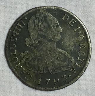 Peru 2 Reales 1793 Ij Silver Coin photo