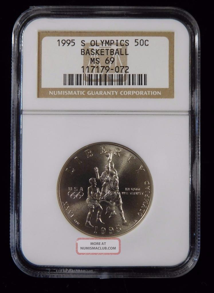 1995 - S Ngc Ms69 Olympics Basketball 50c Commemorative Silver Half Dollar Coins: World photo