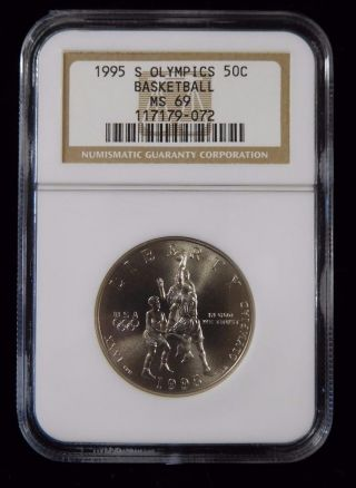 1995 - S Ngc Ms69 Olympics Basketball 50c Commemorative Silver Half Dollar photo