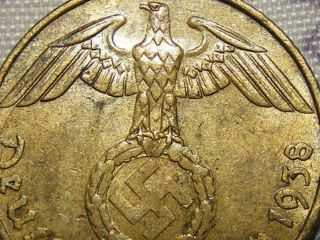 1938 Rare Old Ww2 Nazi Hitler Germany 3rd Reich Brass Dresden 5 Pfennig War Coin photo