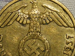 1937 Rare Old Wwii Nazi Hitler Germany 3rd Reich Brass Munich 5 Pfennig War Coin photo