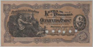 Argentina Provincia De Mendoza - 500 Pesos 1914 Specimen - P S2095s - Aunc photo
