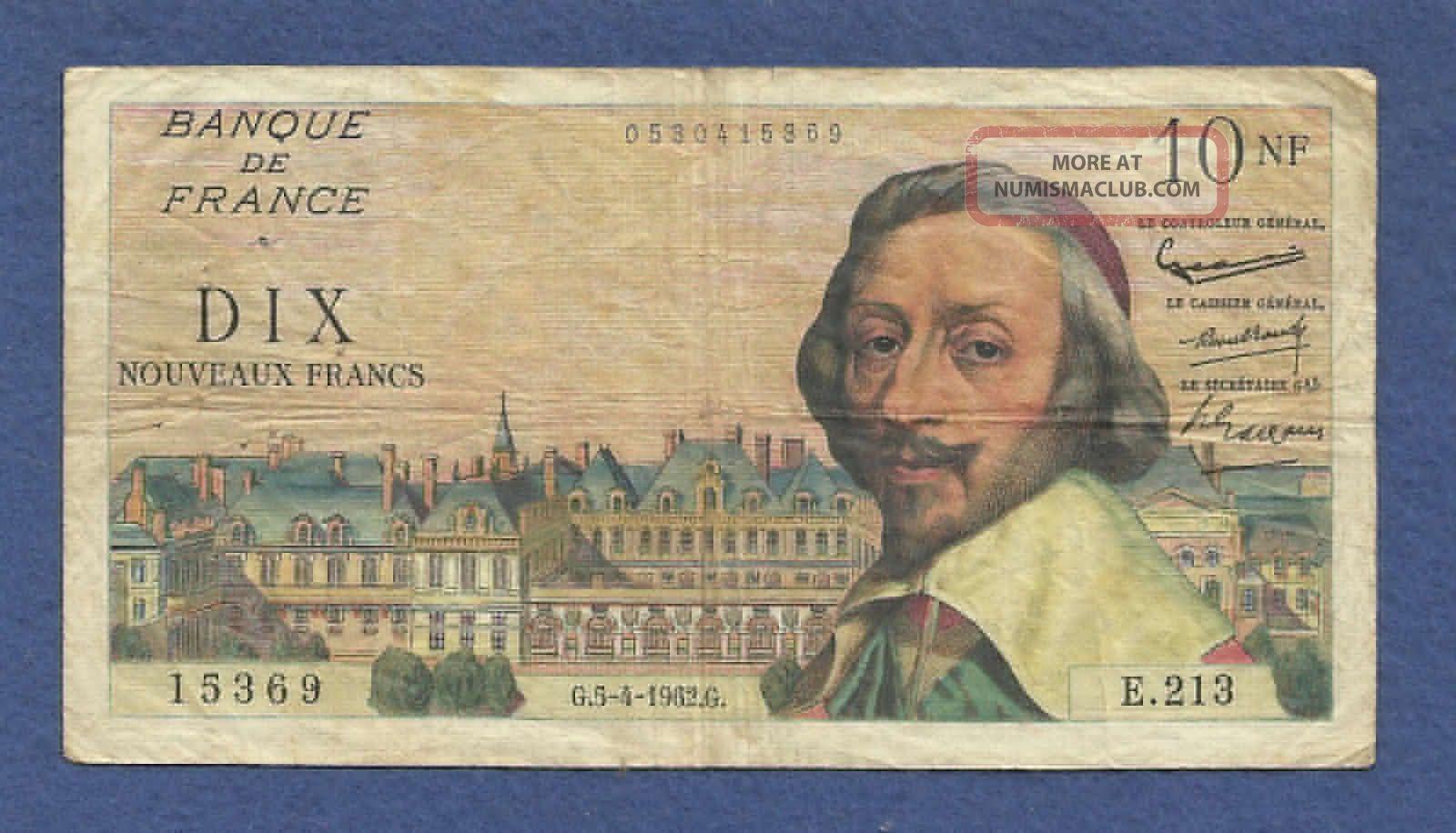 France 10 Nouveaux Francs 1962 Banknote 0530415369,  -  Richelieu,   P - 142 Europe photo