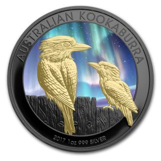 2017 1 Oz Silver Southern Lights Kookaburra Coin,  W/ 24kt Gold Gilded (box N) photo