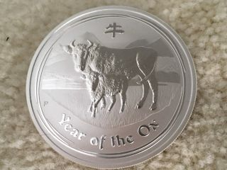 2009 Australian Lunar Year Of The Ox 1 Oz.  Silver Coin photo