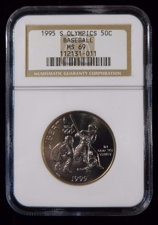 1995 - S Ngc Ms69 Olympics Baseball 50c Commemorative Silver Half Dollar photo
