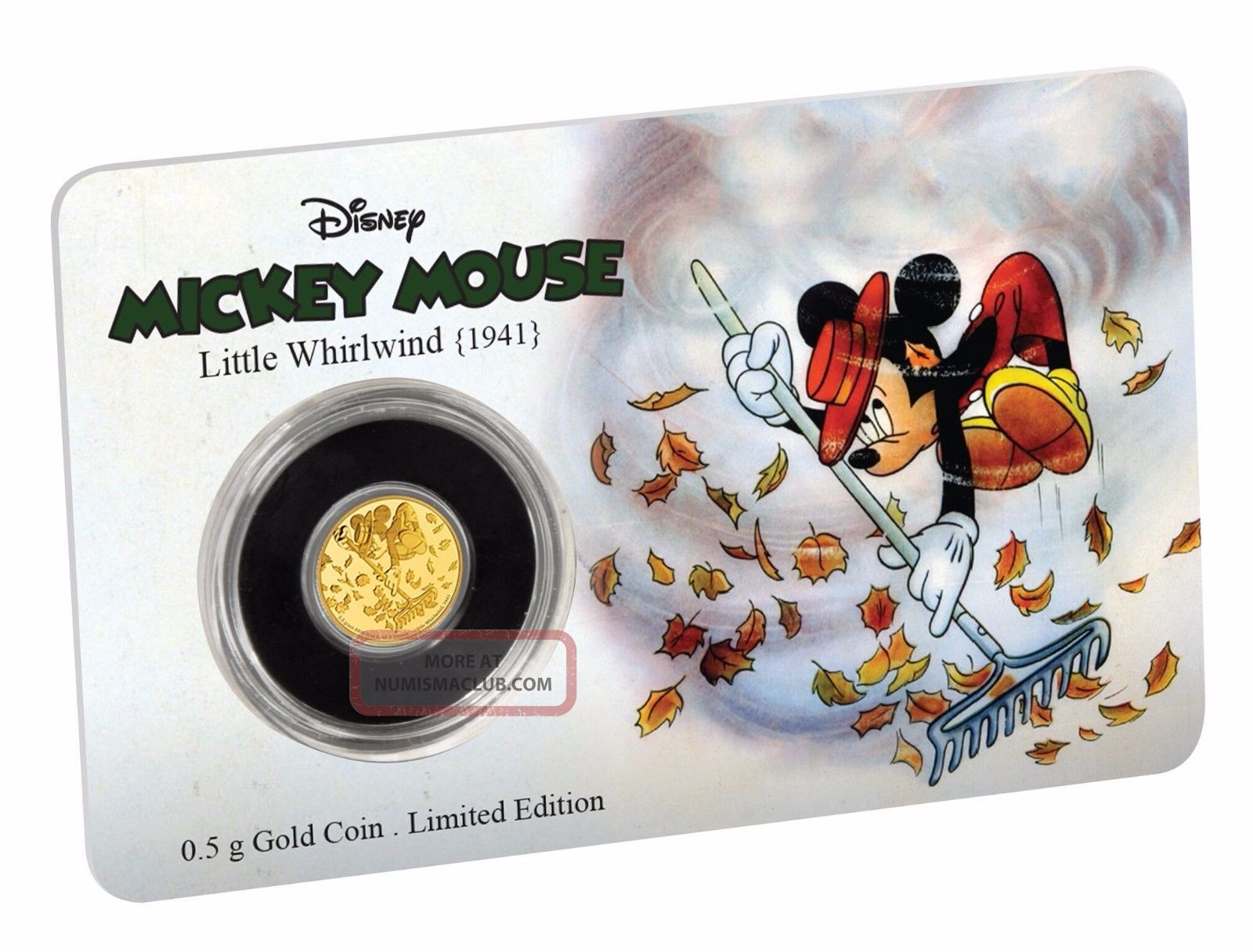 2017 Disney Mickey Mouse - The Little Whirlwind 0.  5 Grams.  9999 Gold Coin Coins: World photo