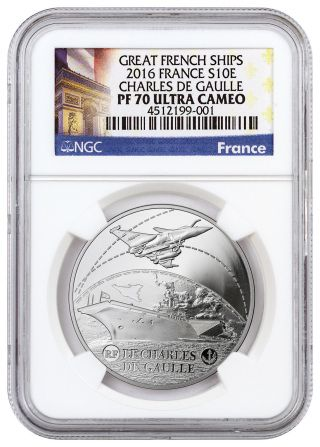 2016 France 10e Silver Great French Ships Charles De Gaulle Ngc Pf70 Uc Sku43704 photo