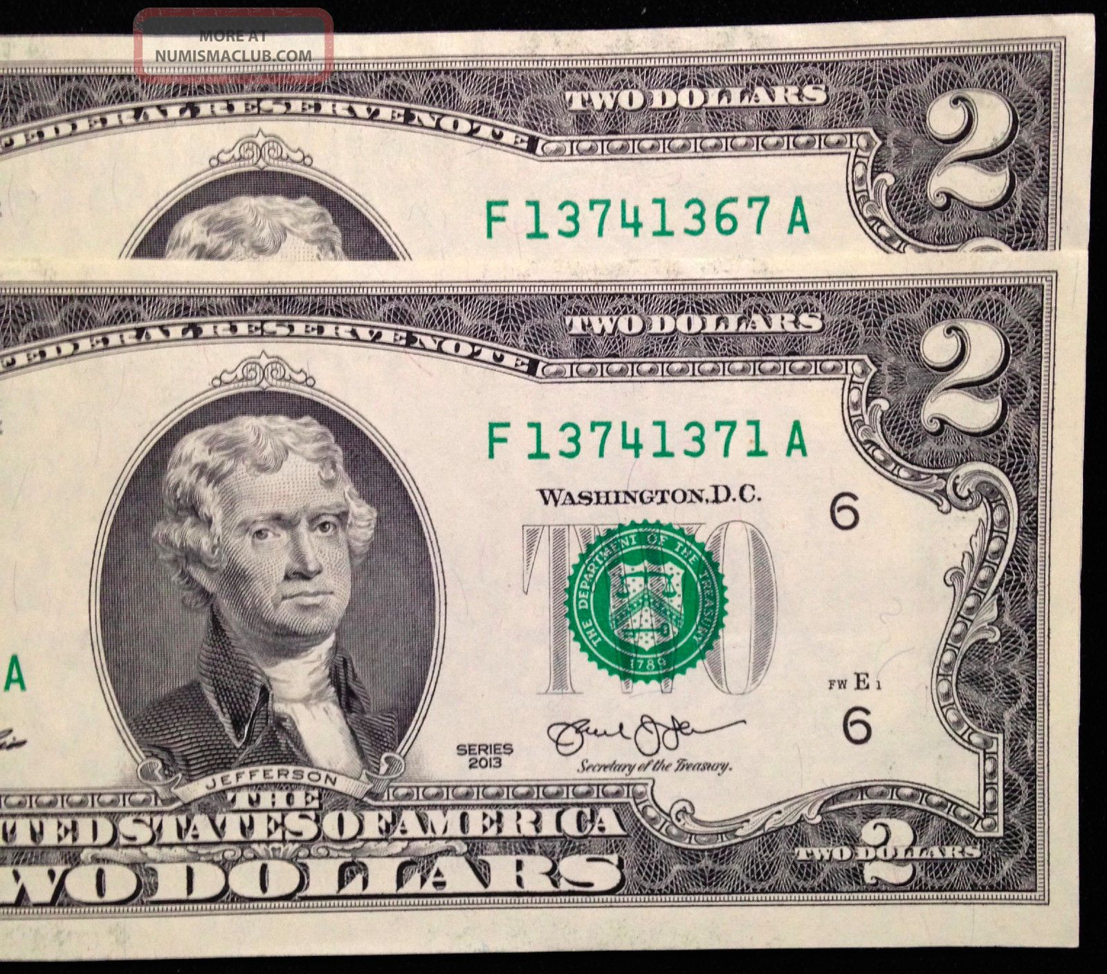 $2 Two Dollar Bills, Similar Cool Serial Numbers, Us Currency, Frb F