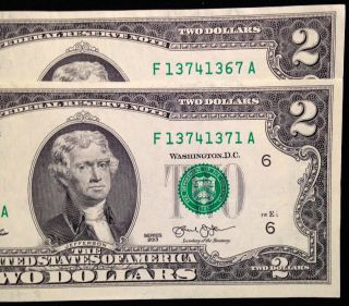 $2 Two Dollar Bills,  Similar Cool Serial Numbers,  Us Currency,  Frb F photo