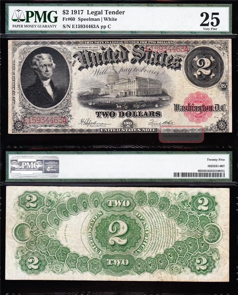 Bold Crisp Vf $2 1917 Bracelet Us Note Pmg 25 E15934463a Large Size Notes photo