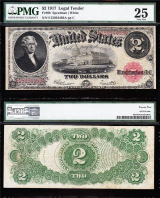 Bold Crisp Vf $2 1917 Bracelet Us Note Pmg 25 E15934463a photo
