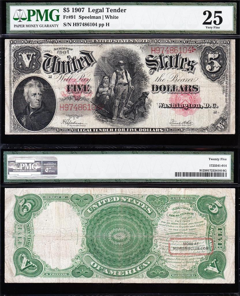 Bold Mid - Grade Vf $5 1907