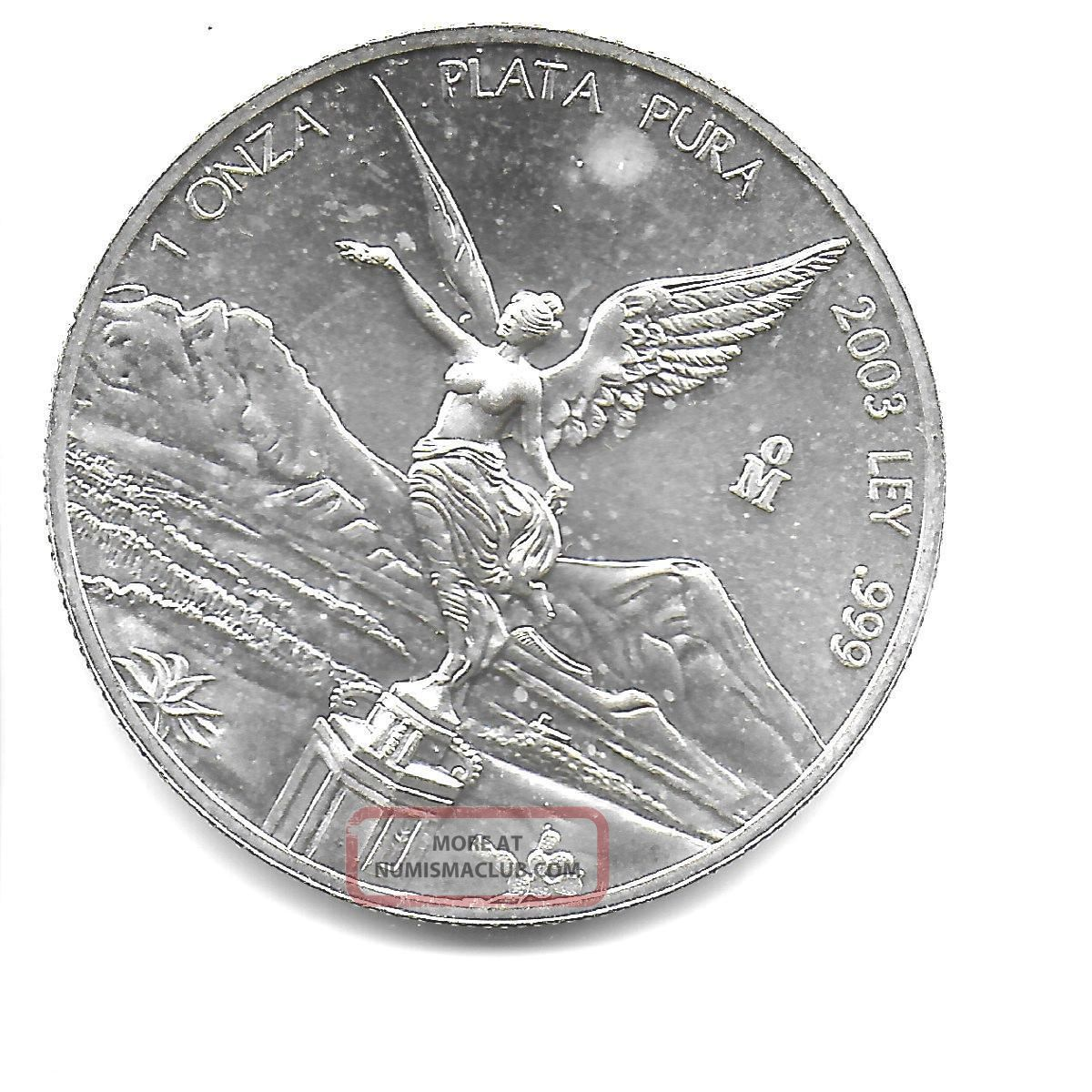 Mexico 2003 Onza.  999 Silver Angel Coin Lustrous Choice Bu Mexico photo