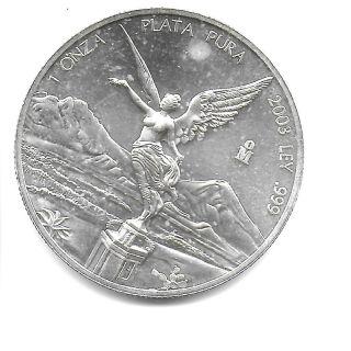 Mexico 2003 Onza.  999 Silver Angel Coin Lustrous Choice Bu photo